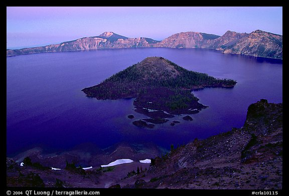 Wizard Island and Lake at dusk. Crater Lake National Park (color)