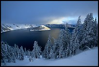 Trees, Lake and Wizard Island, cloudy winter sunrise. Crater Lake National Park, Oregon, USA.