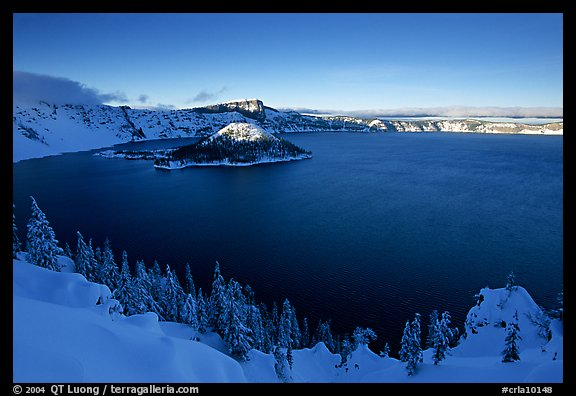 Wizard Island and lake in late afternoon shade, winter. Crater Lake National Park (color)