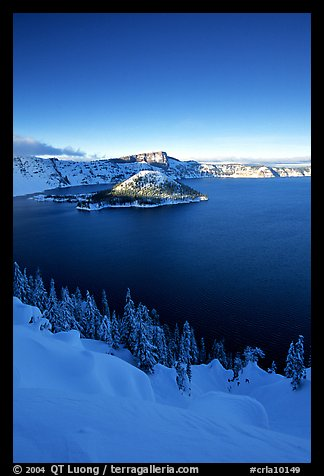 Wizard Island and lake in winter, late afternoon. Crater Lake National Park (color)