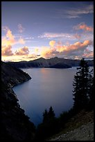 View towards  West from Sun Notch, sunset. Crater Lake National Park, Oregon, USA. (color)