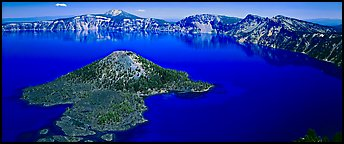 Blue lake and Wizard Island, morning. Crater Lake National Park (Panoramic color)