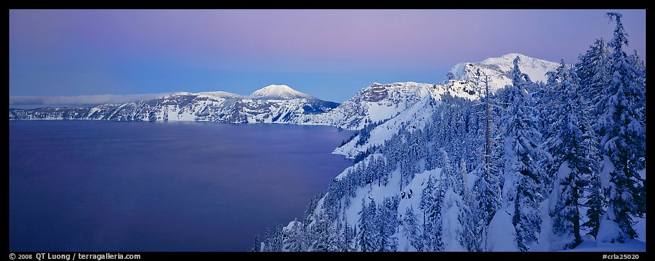 Pristine winter dusk scene. Crater Lake National Park (color)