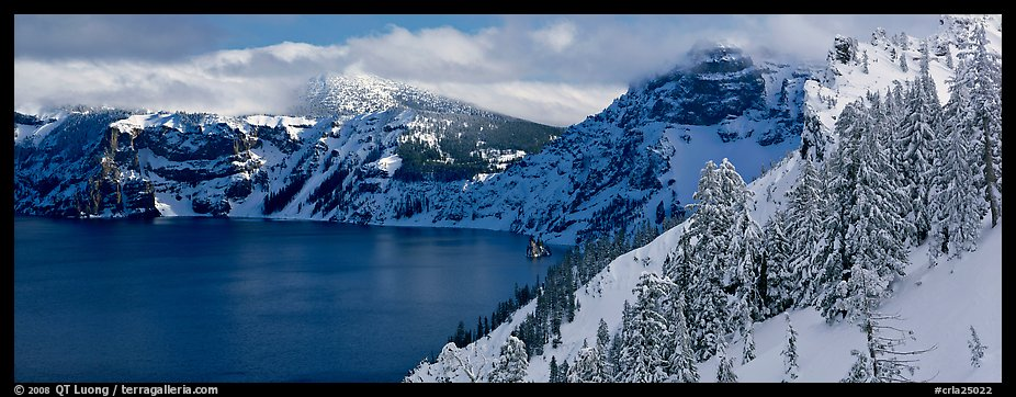 Fresh snow on lake rim. Crater Lake National Park (color)