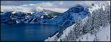 Fresh snow on lake rim. Crater Lake National Park (Panoramic color)