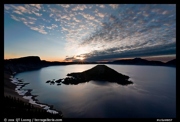 Crater Lake and Wizard Island, sunrise. Crater Lake National Park (color)