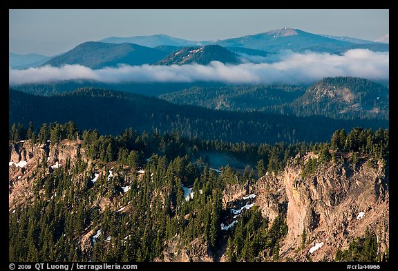 Lake rim and forest, and hills. Crater Lake National Park (color)