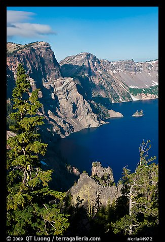 Dutton Cliff and lake. Crater Lake National Park (color)