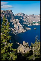Dutton Cliff and lake. Crater Lake National Park, Oregon, USA. (color)