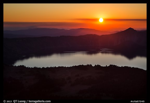Crater Lake with setting sun from Mount Scott. Crater Lake National Park (color)