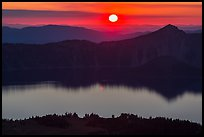 Sun setting over Crater Lake and Llao Rock. Crater Lake National Park ( color)