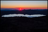 Wide view from Mount Scott of sun setting over Crater Lake. Crater Lake National Park ( color)