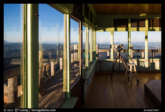 Interior of active fire lookout on Watchman. Crater Lake National Park (color)