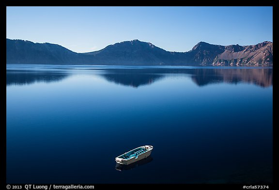 Tour boat and blue lake. Crater Lake National Park (color)