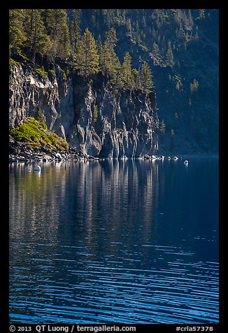 Cliffs, shadows, and reflections, Cleetwood Cove. Crater Lake National Park (color)