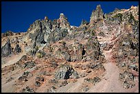 Tall volcanic dikes. Crater Lake National Park ( color)