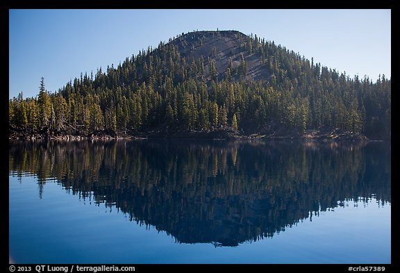 Wizard Island seen from water level. Crater Lake National Park (color)