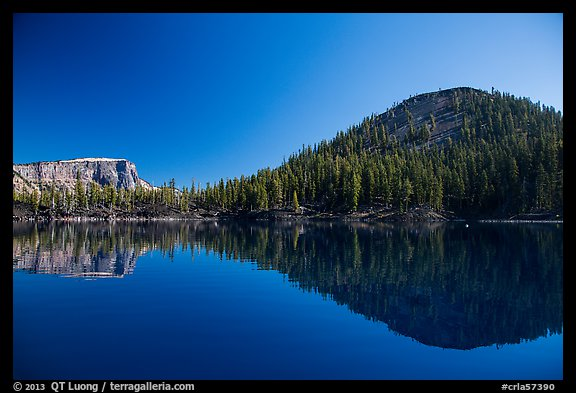 Reflections of Wizard Island and Llao Rock. Crater Lake National Park (color)