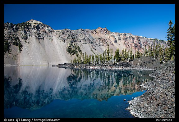 Watchman reflected in Fumarole Bay, Wizard Island. Crater Lake National Park (color)