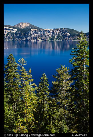 Hemlock, blue waters, and Mount Scott, Wizard Island. Crater Lake National Park (color)
