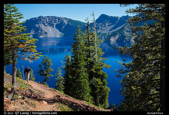 Hiker on Wizard Island. Crater Lake National Park (color)