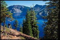 Hiker on Wizard Island. Crater Lake National Park ( color)
