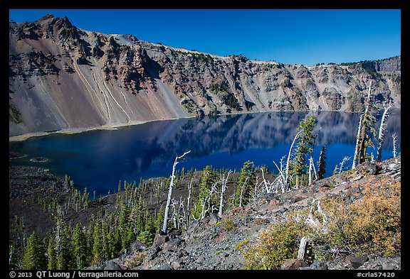 Skell Channel from top of Wizard Island cinder cone. Crater Lake National Park (color)