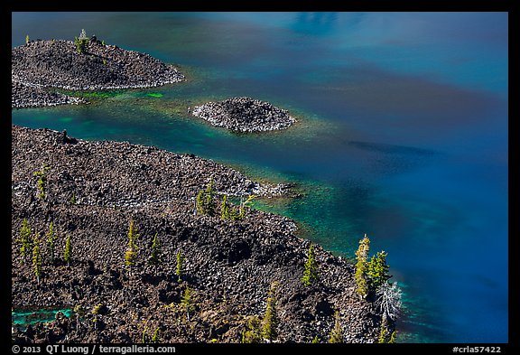 Shoreline of Wizard Island seen from top of cinder cone. Crater Lake National Park (color)