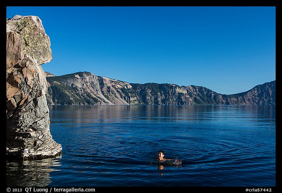 Man swimming in lake, Cleetwood Cove. Crater Lake National Park (color)
