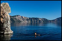 Man swimming in lake, Cleetwood Cove. Crater Lake National Park ( color)