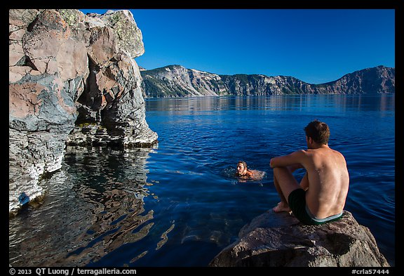 Men swimming in lake, Cleetwood Cove. Crater Lake National Park (color)
