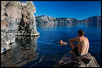 Men swimming in lake, Cleetwood Cove. Crater Lake National Park ( color)