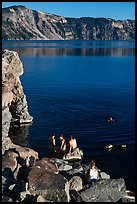 People on lakeshore, Cleetwood Cove. Crater Lake National Park ( color)