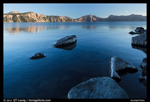 Lakeshore in late afternoon, Cleetwood Cove. Crater Lake National Park (color)