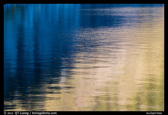 Golden and blue reflections, Cleetwood Cove. Crater Lake National Park (color)