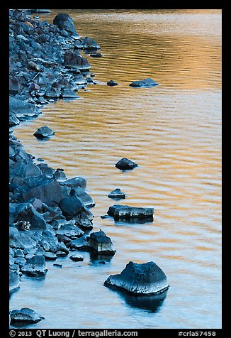 Rocks and evening reflections, Cleetwood Cove. Crater Lake National Park (color)