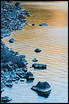 Rocks and evening reflections, Cleetwood Cove. Crater Lake National Park ( color)