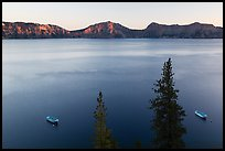 Tour boats and south rim at sunset, Cleetwood Cove. Crater Lake National Park ( color)