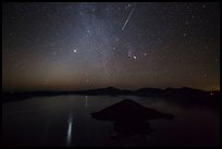 Meteor over Crater Lake. Crater Lake National Park, Oregon, USA.