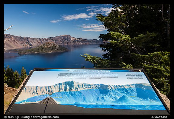 Interpretive sign, Wizard Island and Llao peak. Crater Lake National Park (color)