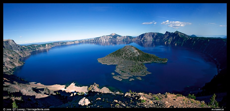 Crater Lake and Wizard Island. Crater Lake National Park (color)