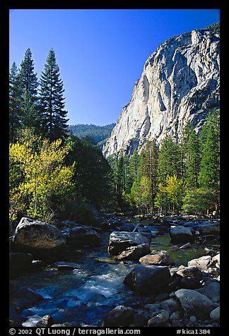 Kings River and cliffs in Cedar Grove. Kings Canyon National Park (color)