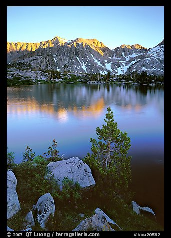 Boulders, tree, and Woods Lake at sunset. Kings Canyon National Park (color)