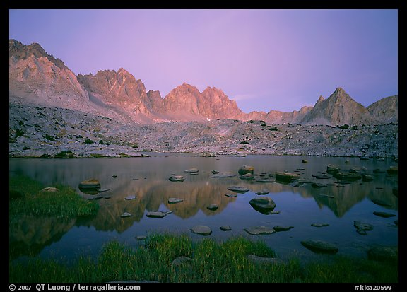 Mt Agasiz, Mt Thunderbolt, and Isoceles Peak reflected in a lake in Dusy Basin, sunset. Kings Canyon National Park (color)