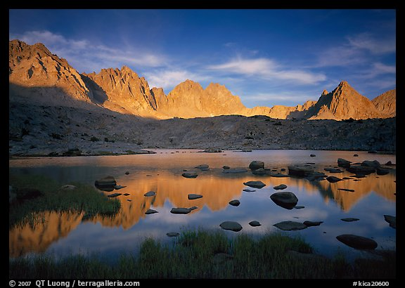 Palissades and Isoceles Peak at sunset. Kings Canyon National Park (color)