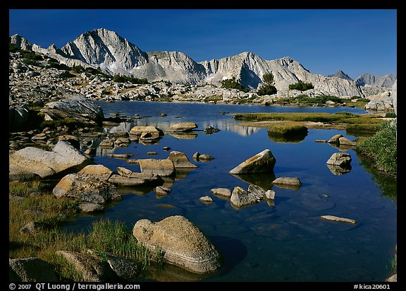 Mt Giraud reflected in a lake in Dusy Basin, morning. Kings Canyon National Park (color)