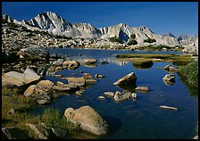 Mt Giraud reflected in a lake in Dusy Basin, morning. Kings Canyon National Park, California, USA.