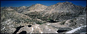 Mineral mountain landscape dotted with lakes. Kings Canyon National Park (Panoramic color)