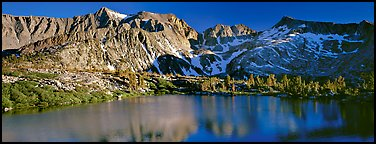 Sierra Mountains and lake in early summer. Kings Canyon National Park (Panoramic color)