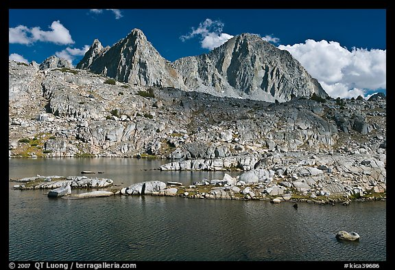 Lake, Isoceles Peak and Mt Giraud, Dusy Basin. Kings Canyon National Park (color)